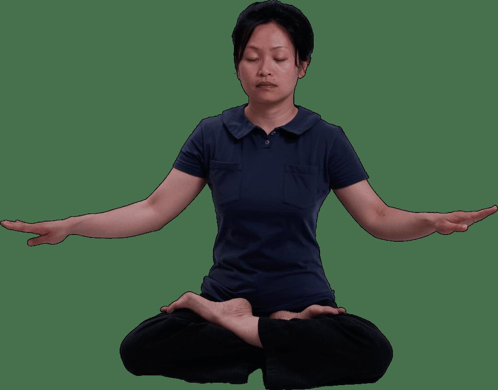 Practitioner doing the Falun Dafa meditation exercise.